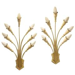 Two Italian Mid-Century 'Bouquet' Brass and White Wall Sconces