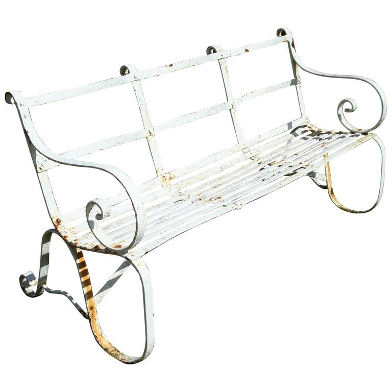 Regency Wrought Iron Garden Seat/ Bench For Sale