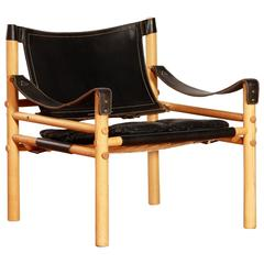 Arne Norell Oak-Leather Armchair 'Sirocco,' 1960s