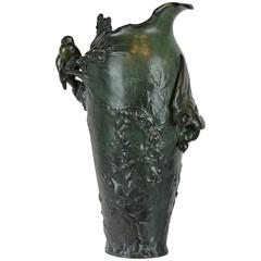 Green Patinated Art Nouveau Bronze Vase with Birds and Plants by Frederic Debon