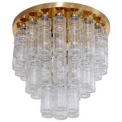 1 of 17 Huge Glass and Brass Flush Mounts or Chandeliers by Glashütte Limburg