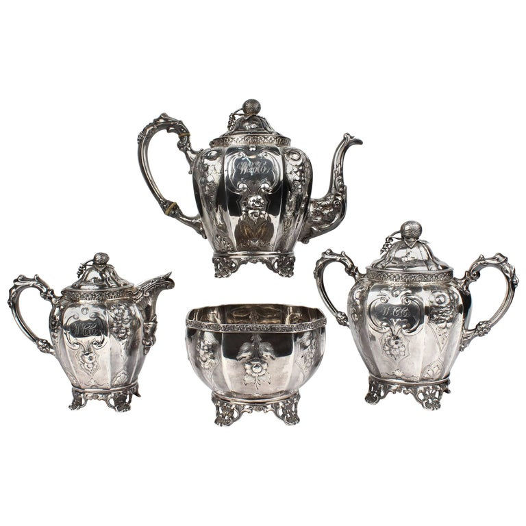 19th Century Four-Piece Wood and Hughes Repousse New York Coin Silver Tea Set For Sale