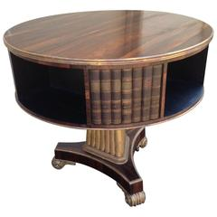 Wonderful Round English Regency Rosewood Library Side or Center Table