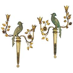 Exceptional Pair of Maison Baguès Style French Mid-Century Gilt Parrot Sconces