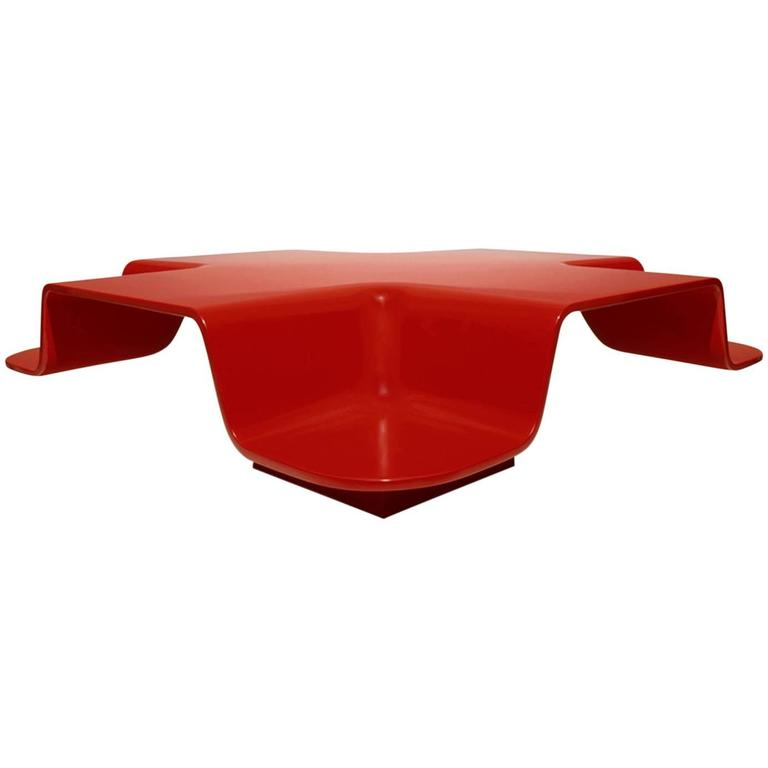 Fiberglass table hand molded and painted in ferrari red