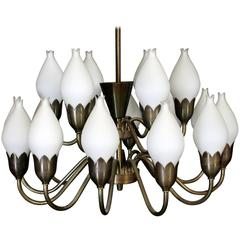 Beautiful Large Chandelier by Fog & Mørup with Hand Blow Glass Tulips