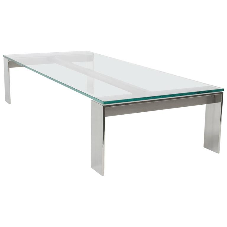 Bridge Coffee Table Stainless Steel Mirror Polished Finish With Clear Glass For Sale At 1stdibs