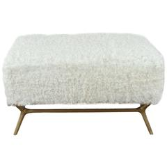 Modern Goatskin and Brass Bench