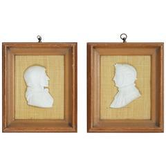 Pair of Alabaster Profile Portraits of Dante