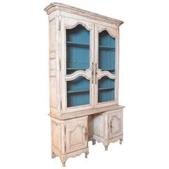 Tall 18th Century French Louis XV Painted Display Cabinet from Bordeaux
