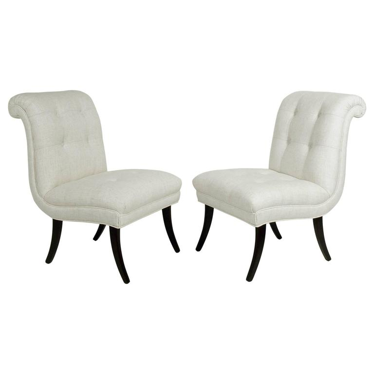 Pair of Curvaceous 1940s Slipper Chairs