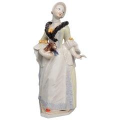 Nymphenburg Porcelain Bustelli Figurine of a Lady & a King Charles Spaniel Dog
