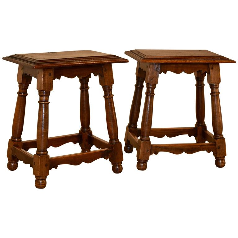 19th Century Pair Of French Walnut Stools At 1stdibs