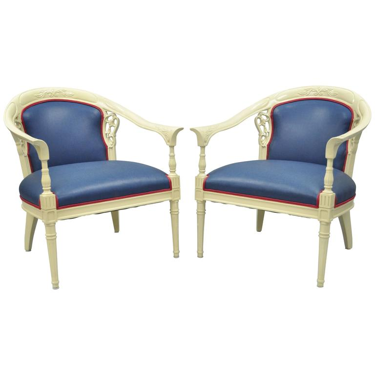 Pair of Vintage French Hollywood Regency Cream Lacquered Blue Lounge Chairs