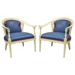 Pair of Cream Lacquered Chinoiserie Blue Barrel Back Lounge Club Arm Chairs