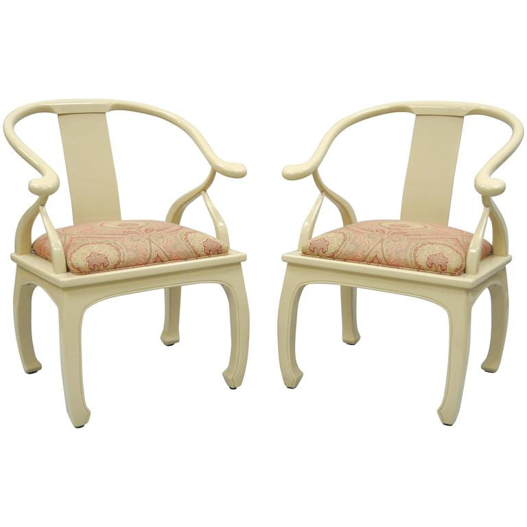 Pair of Vintage Cream Lacquered James Mont Style Ming Horseshoe Lounge Chairs 1
