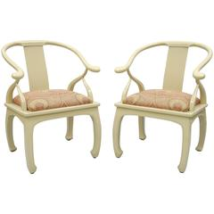 Pair of Vintage Cream Lacquered James Mont Style Ming Horseshoe Lounge Chairs