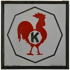 Exceptional Enamel Sign with Rooster