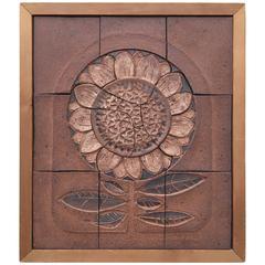 1973 Studio Ceramic Tile Art by D. Cunningham