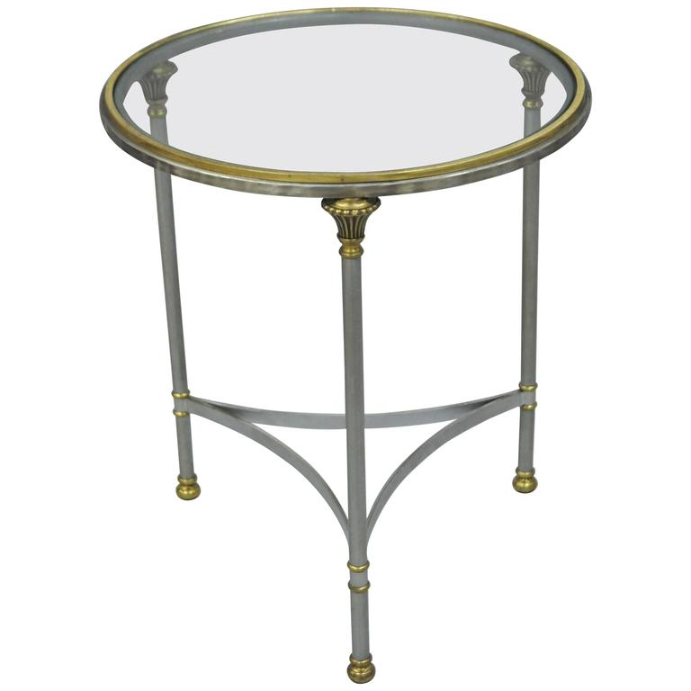 Vintage Italian Brushed Steel And Brass Round Directoire Neoclassical Side  Table For Sale