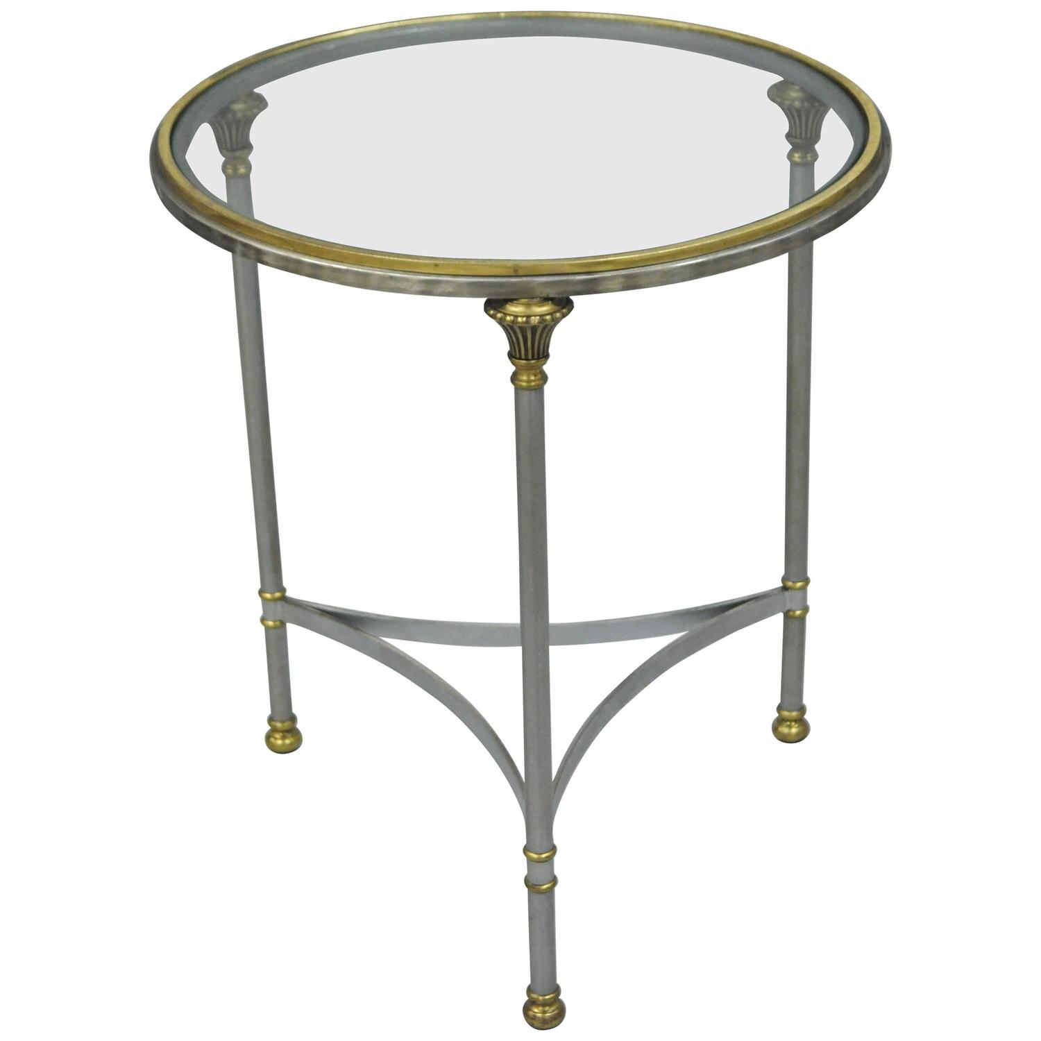 Vintage Italian Brushed Steel and Brass Round Directoire