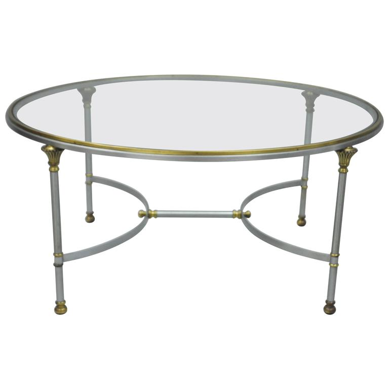 vintage italian brushed steel and brass round directoire neoclassical coffee table for sale at. Black Bedroom Furniture Sets. Home Design Ideas