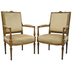 Pair of Carved Walnut French Louis XVI Directoire Style Fauteuil Armchairs