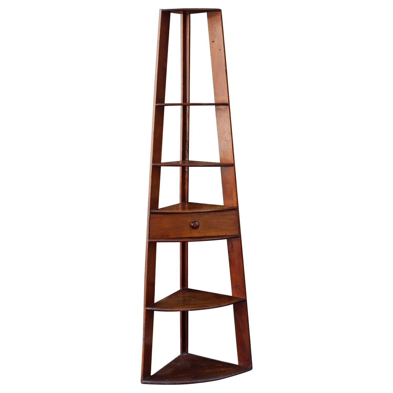 tall corner shelves with drawer at 1stdibs. Black Bedroom Furniture Sets. Home Design Ideas