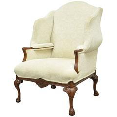 20th Century Oversized Carved Mahogany Chippendale Style Wingback Armchair