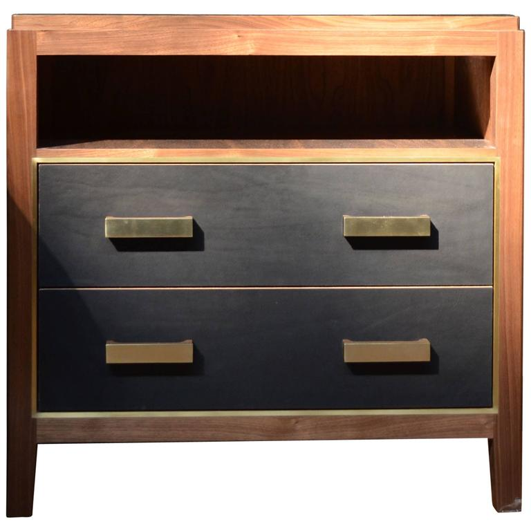 2-Drawer Abuelo Nightstand in Oiled Walnut w/ Hand-Dyed Leather & Brass Detail For Sale