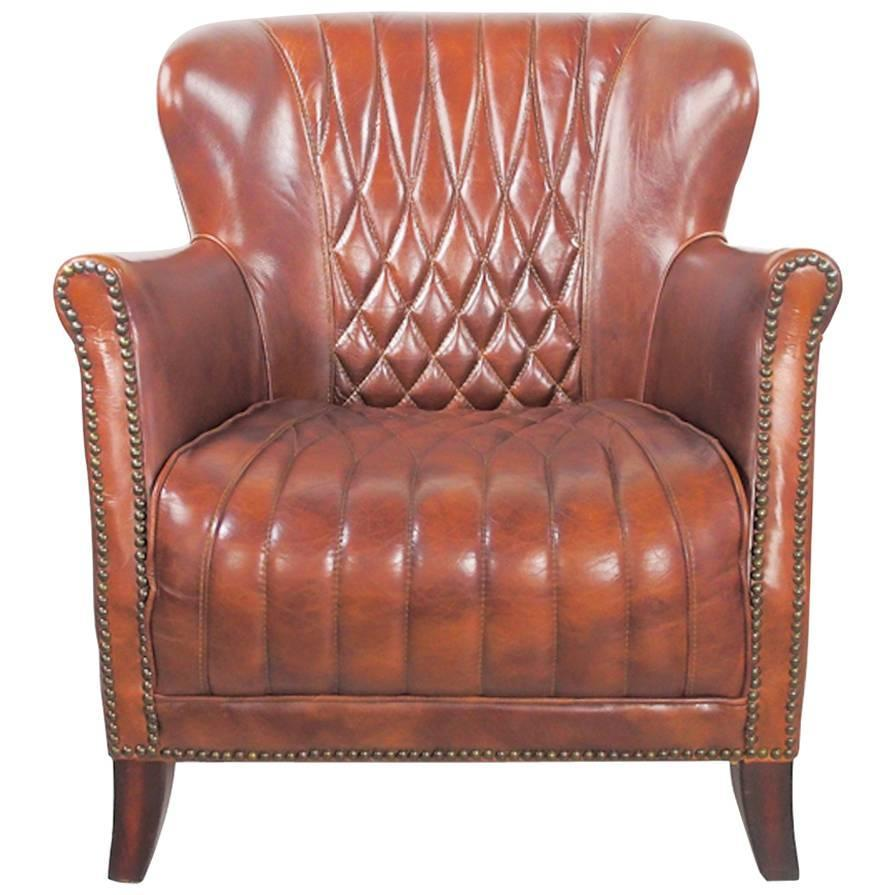 Late 20th Century Classic Brown Leather Quilted Club Chair