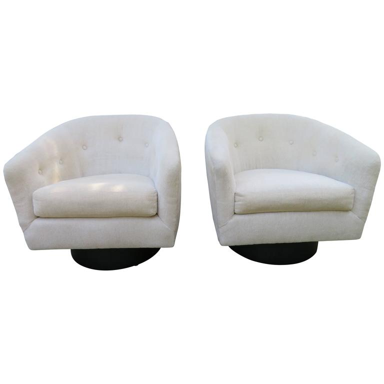 Fantastic Pair of Milo Baughman Tall Swivel Base Barrel Back Lounge Chairs For Sale