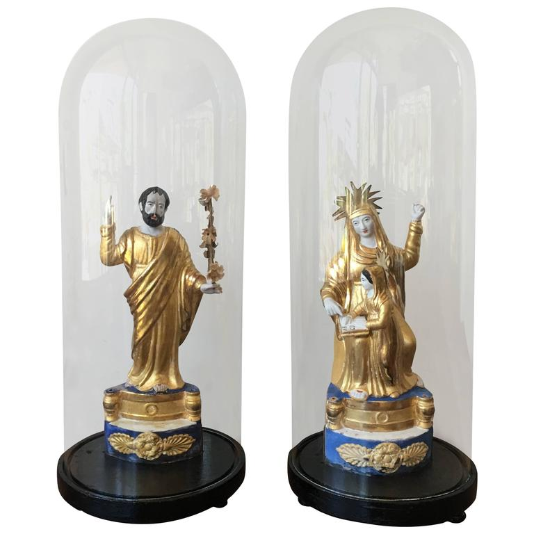 Pair of Italian Gilded Sculptures Religious in a Glass Urn For Sale