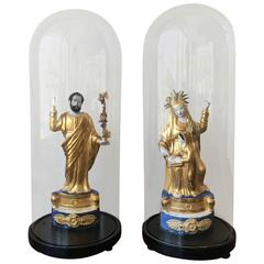 Pair of Italian Gilded Sculptures Religious in a Glass Urn