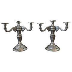 Pair of Four-Armed Art Deco Candlesticks, 1930s-1940s, Sweden