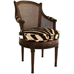 18th Century French Georges Jacob Mahogany and Cane Swivel Bergere in Zebra