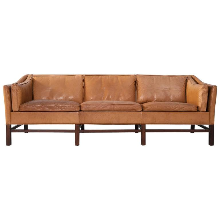 Scandinavian Modern Sofa In Natural Leather At 1stdibs