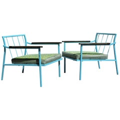 Modernist Iron and Wood Lounge Chairs