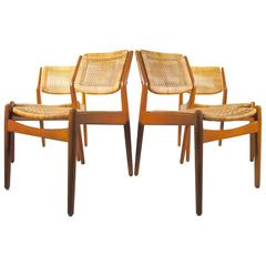 Set of Four Arne Vodder for Sibast Rattan Dining Chairs