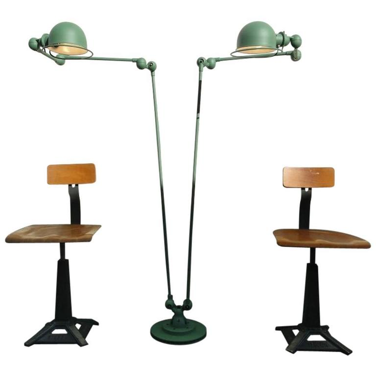 Double three armed jielde french industrial floor reading for Double floor lamp reading