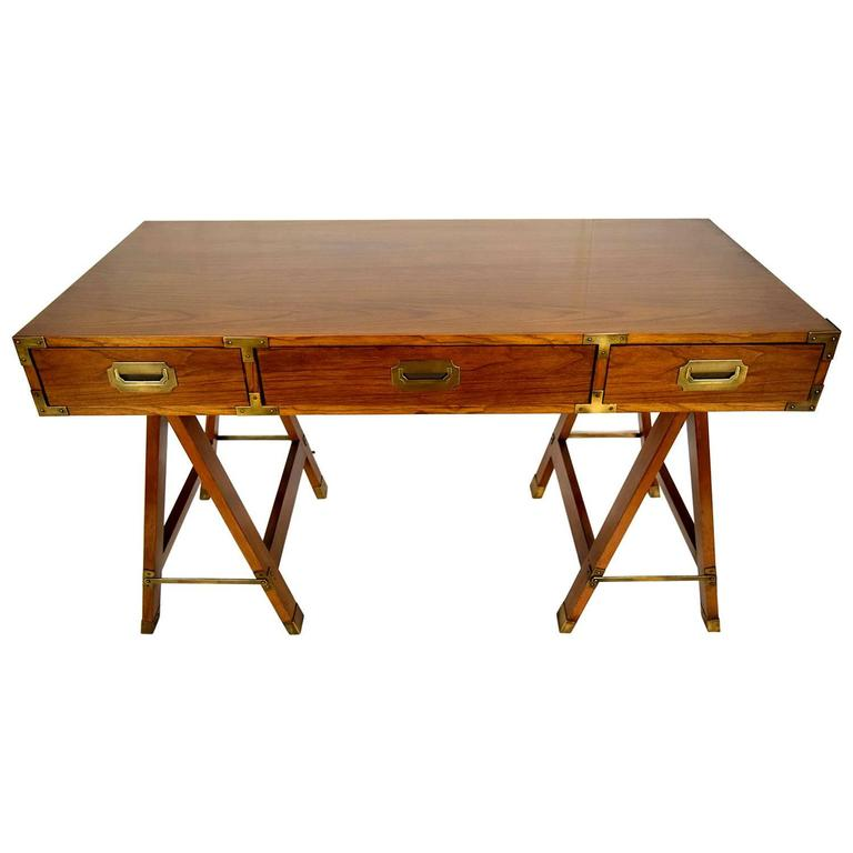 Campaign desk with sawhorse legs at 1stdibs Sawhorse desk legs