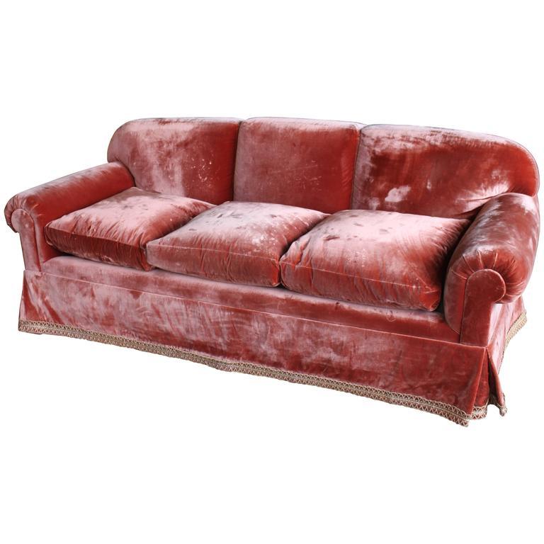 Vintage Silk Velvet Decorator Sofa At 1stdibs