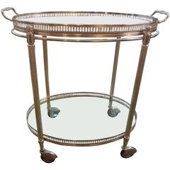 Small French Maison Jansen Style Oval Silver Plated Rolling Cart