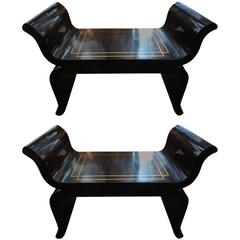 Pair of Mid-Century Black Lacquered Benches Attributed to James Mont