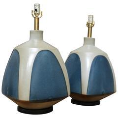 Pair of Large Ceramic Lamps by David Cressey