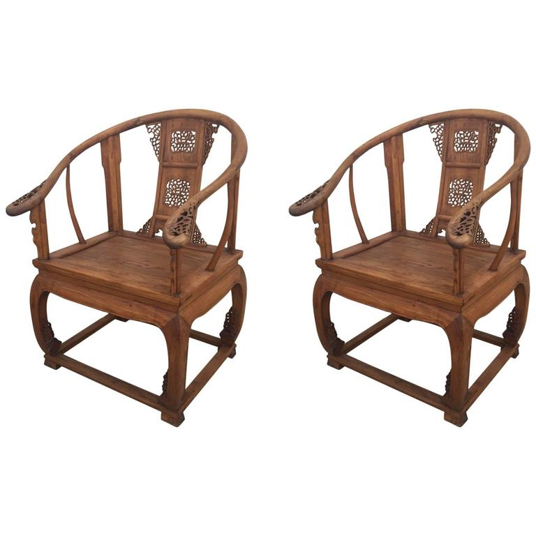 Substantial Pair Of Vintage, Chinese, Teak, Horseshoe Chairs For Sale