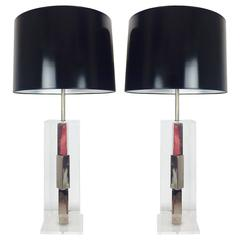 Pair of Lucite and Chrome Table Lamps by Laurel