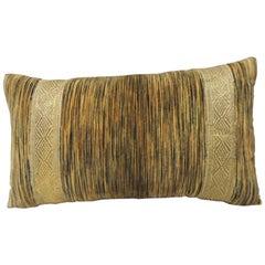 19th Century Silk Velvet Bolster Decorative Pillow with Antique Trim