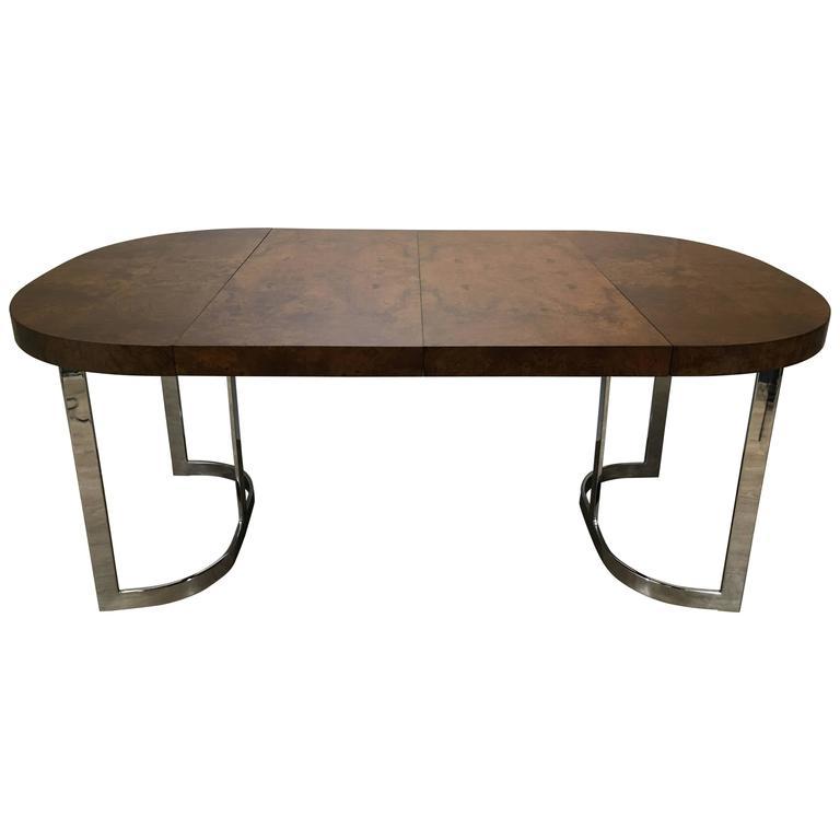stunning milo baughman burl wood dining table with chrome base for sale at 1stdibs. Black Bedroom Furniture Sets. Home Design Ideas