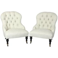 Pair of Edwardian Style Slipper Chairs